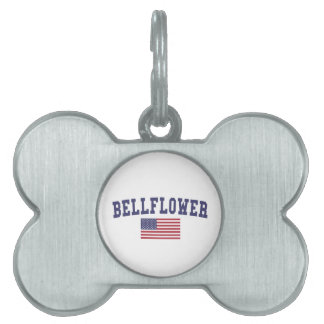 Bellflower US Flag Pet Name Tag