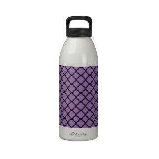 Bellflower Violet & Black Quatrefoil Mesh Pattern Drinking Bottle