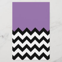 Bellflower-Violet-On-Black-&-White-Zigzag-Pattern