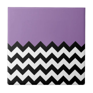 Bellflower-Violet-On-Black-&-White-Zigzag-Pattern Ceramic Tile