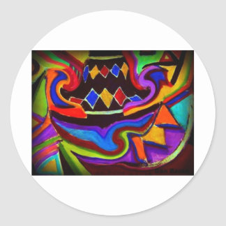 Bellgull Vase Abstract Painting Classic Round Sticker