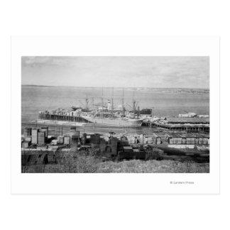 Bellingham, WA Docks View of Lumber Ships Postcard