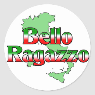 Bello Ragazzo (muchacho italiano hermoso) Pegatina Redonda