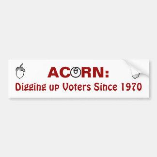 Bellota: Desenterrando a votantes desde 1970 Pegatina Para Auto