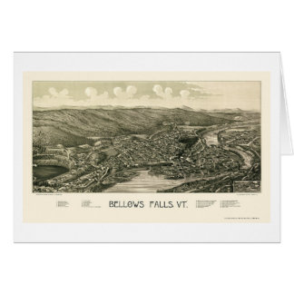 Bellows Falls, VT Panoramic Map - 1880 Greeting Card