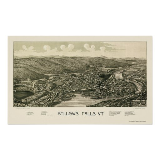Bellows Falls, VT Panoramic Map - 1880 Poster
