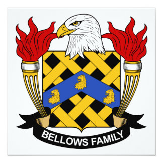 Bellows Family Crest 5.25x5.25 Square Paper Invitation Card