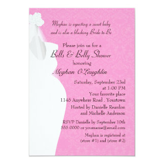 Bells and Belly Bridal and Baby Shower Personalized Invitation