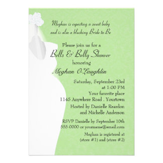 Bells and Belly Bridal and Baby Shower Custom Invitation