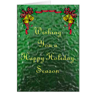 Bells and Holly in Stained Glass Card