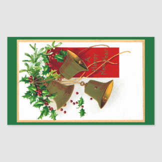 Bells and Holly Vintage New Year Rectangular Sticker