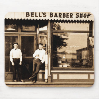 Bell's Barber Shop Vintage Americana Mouse Pad