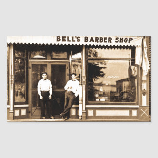 Bell's Barber Shop Vintage Americana Rectangular Sticker