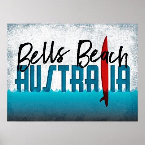 Bells Beach Australia Surfboard Surfing Poster