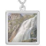 Bells Canyon Waterfall, Lone Peak Wilderness, Square Pendant Necklace