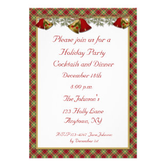 Bells Holly Plaid Holiday Party Invitation
