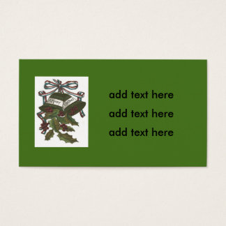 Bells Holly Red White Blue Ribbon Patriotic Business Card