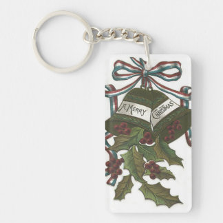 Bells Holly Red White Blue Ribbon Patriotic Keychain