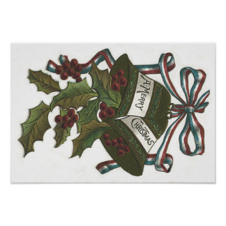 Bells Holly Red White Blue Ribbon Patriotic Poster