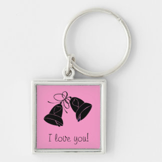 Bells of happiness Silver-Colored square keychain