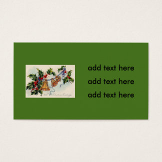 Bells Ribbon Holly Winterberry Business Card