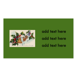 Bells Ribbon Holly Winterberry Double-Sided Standard Business Cards (Pack Of 100)
