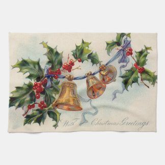 Bells Ribbon Holly Winterberry Hand Towel