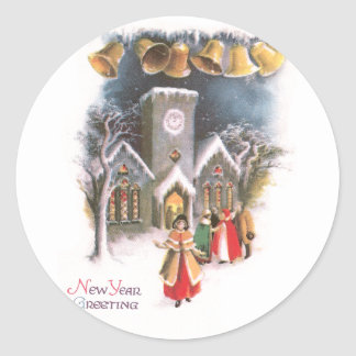 Bells Ring in the New Year Vintage Classic Round Sticker