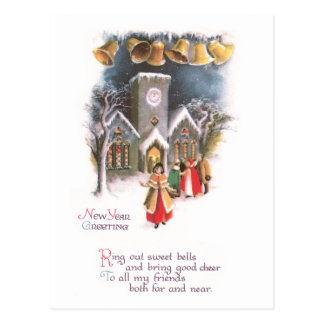 Bells Ring in the New Year Vintage Postcard