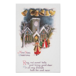 Bells Ring in the New Year Vintage Poster
