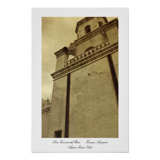 Belltower, San Xavier del Bac, Arizona Poster