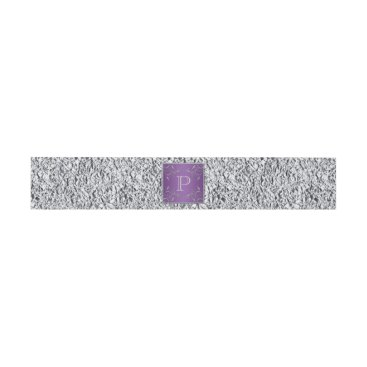Belly Band | Purple Silver Gray Floral | FAUX Foil Invitation Belly Band