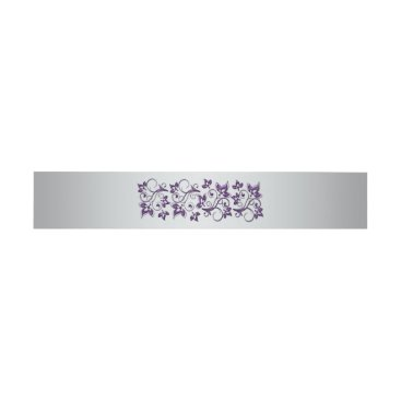 Belly Band | Purple, Silver Gray, Floral | Wedding Invitation Belly Band