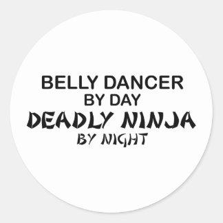 Belly Dancer Deadly Ninja by Night Round Sticker