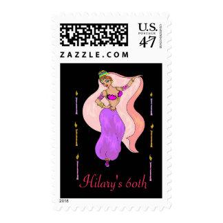Belly Dancer Illustration - Postage Stamp