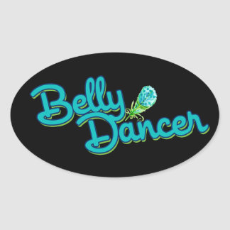 Belly dancer peacock colors oval sticker