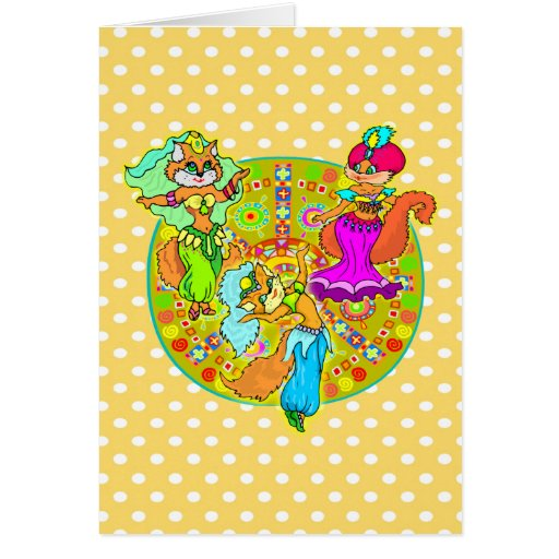 Belly Dancing Cats Greeting Card