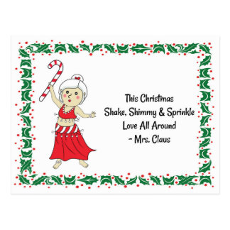 Belly Dancing Mrs. Claus Postcard