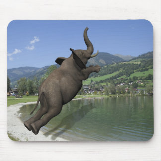 Belly Flop Elephant Mouse Pad