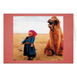 Belly-Laugh Child & Camel Greeting Card