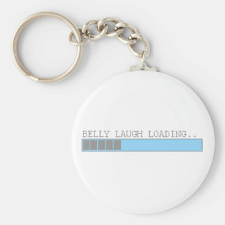 Belly laugh loading funny mens and girls humor basic round button keychain