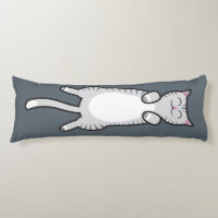 Belly Rub Cat - Gray Tabby Body Pillow
