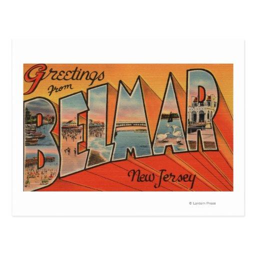 Belmar, New Jersey - escenas grandes de la letra Tarjetas Postales