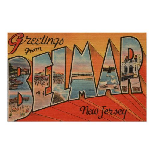 Belmar, New Jersey - Large Letter Scenes Poster