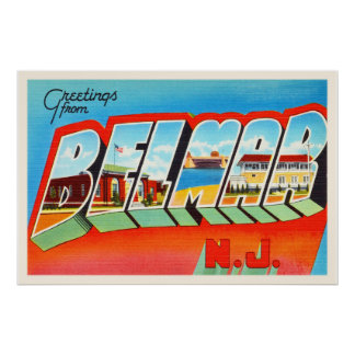 Belmar New Jersey NJ Old Vintage Travel Postcard- Poster
