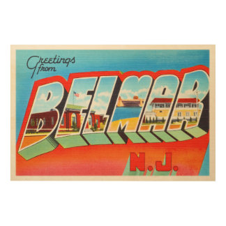 Belmar New Jersey NJ Old Vintage Travel Postcard- Wood Wall Decor
