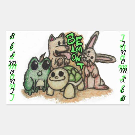 Belmont animals rectangular sticker
