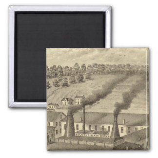 Belmont Glass Works, Bellaire, Ohio 2 Inch Square Magnet