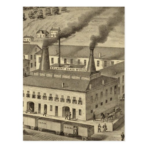 Belmont Glass Works, Bellaire, Ohio Post Card