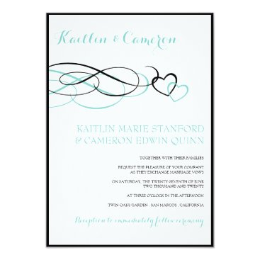McTiffany Tiffany Aqua Beloved (Black & Tiffany Blue) Wedding Invitations